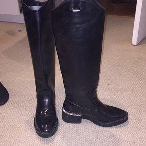 Black Zara rider boots with chain detail